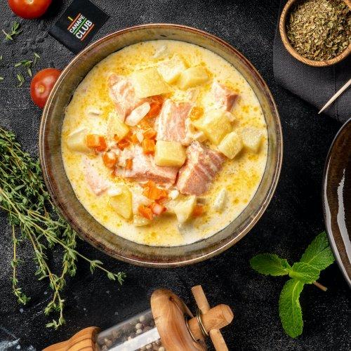 Суп Лохикейто с красной рыбой